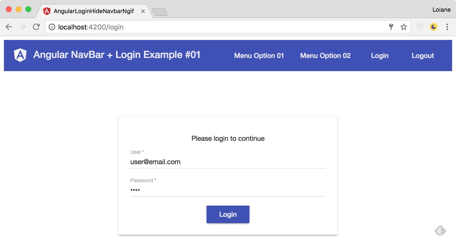 Angular: Hide Navbar Menu from Login page